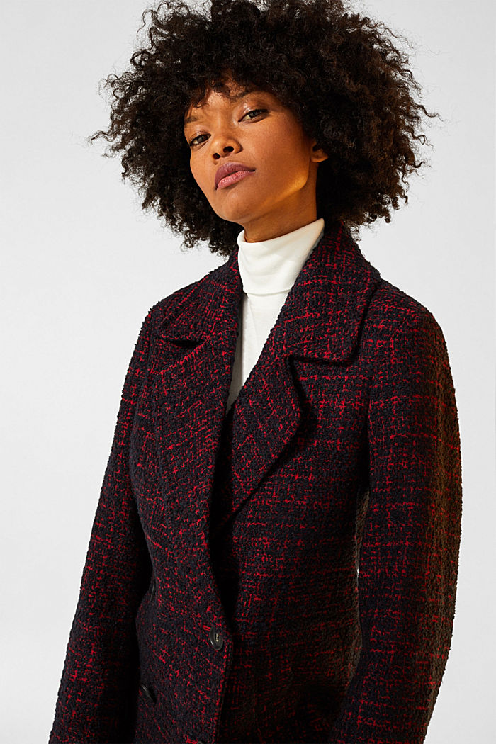 Double-breasted bouclé coat with wool, DARK RED, detail image number 2
