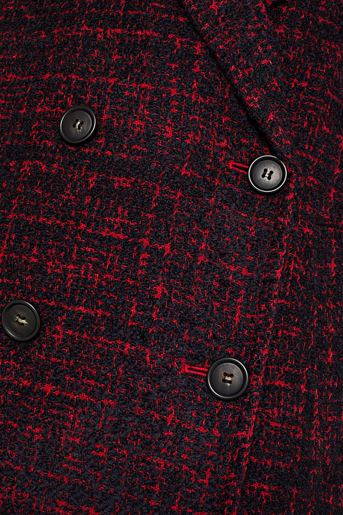Double-breasted bouclé coat with wool, DARK RED, detail image number 4
