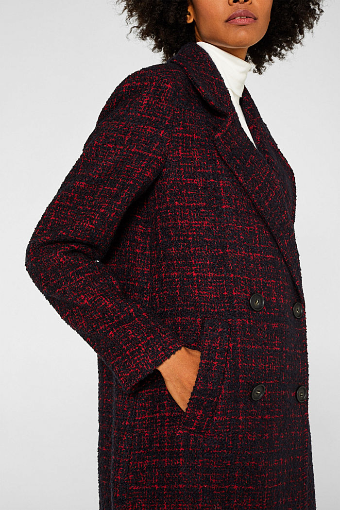 Double-breasted bouclé coat with wool, DARK RED, detail image number 5