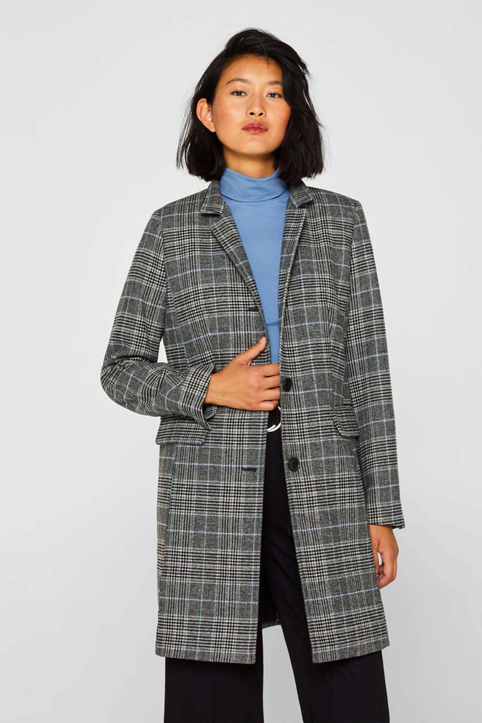 Esprit - With wool: Padded coat with a checked pattern