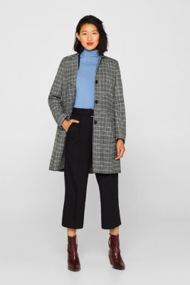 With wool: Padded coat with a checked pattern, ANTHRACITE, detail