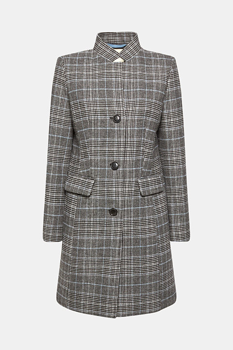 With wool: Padded coat with a checked pattern