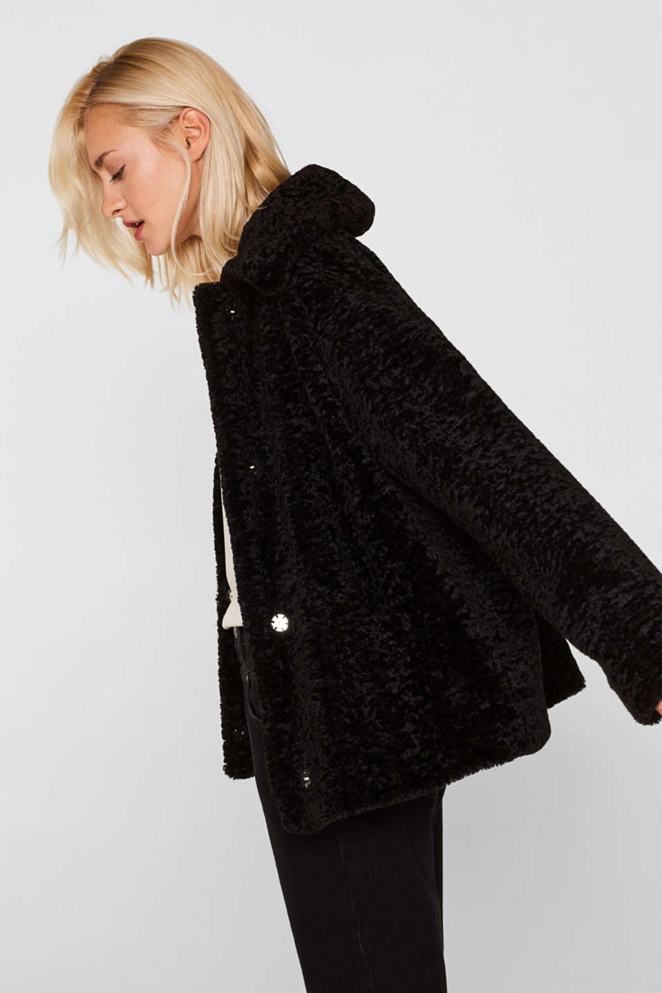 Faux fur jacket in a teddy look, BLACK, detail image number 3