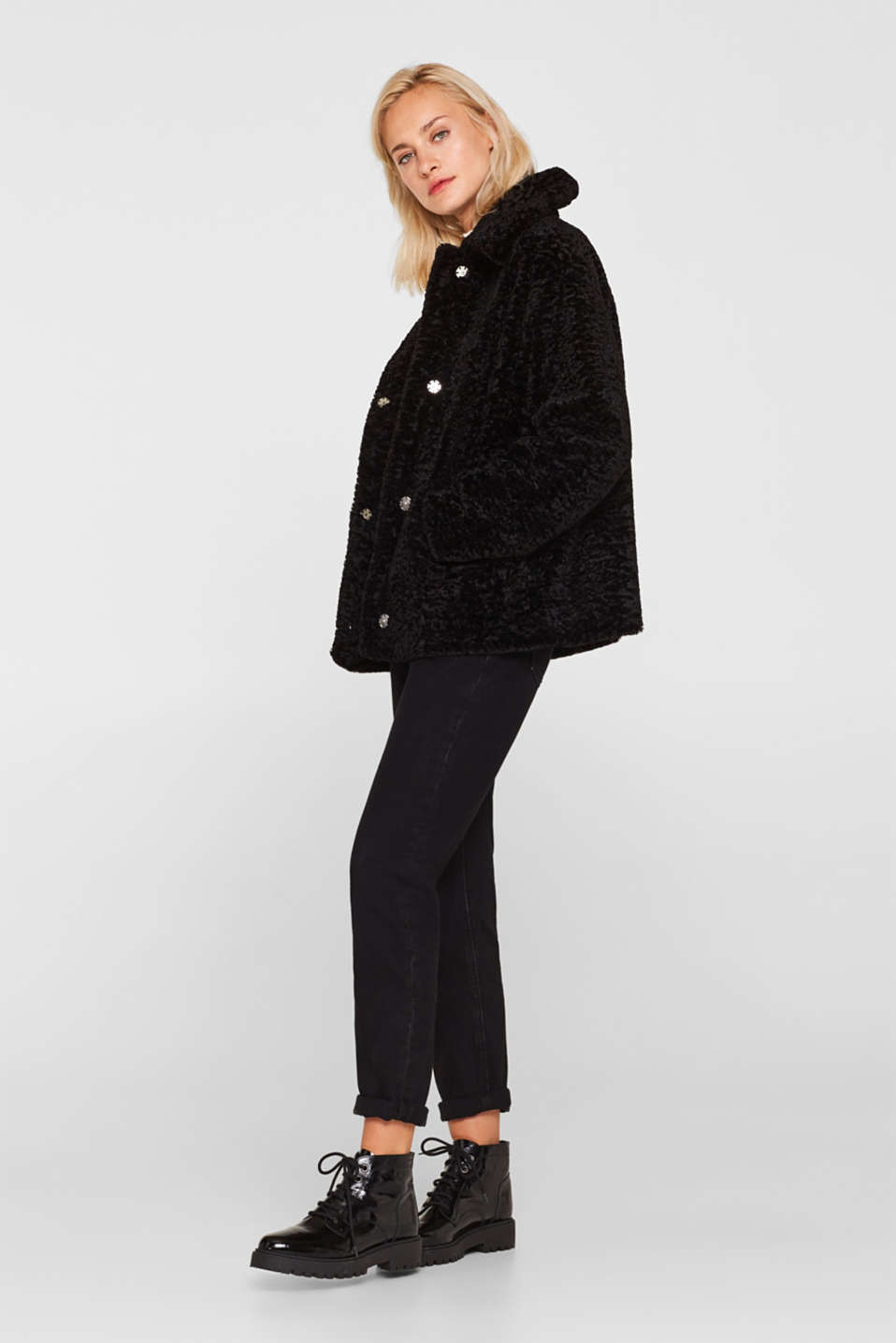 Faux fur jacket in a teddy look, BLACK, detail image number 0