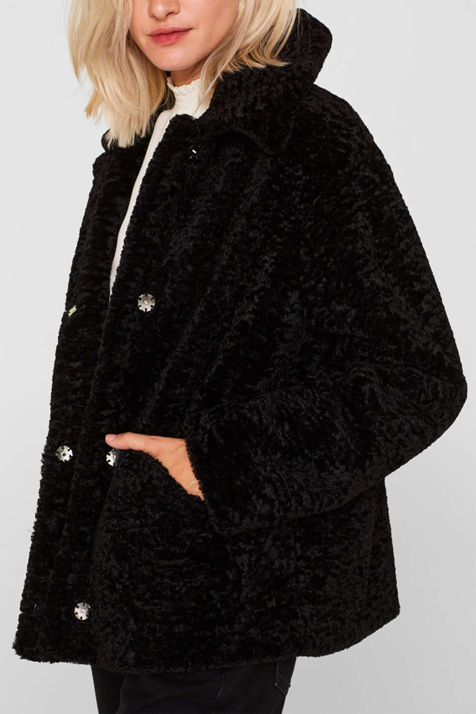 Faux fur jacket in a teddy look, BLACK, detail image number 1