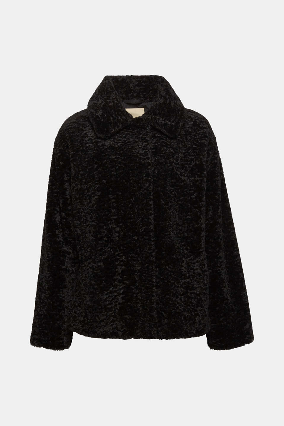 Faux fur jacket in a teddy look, BLACK, detail image number 4