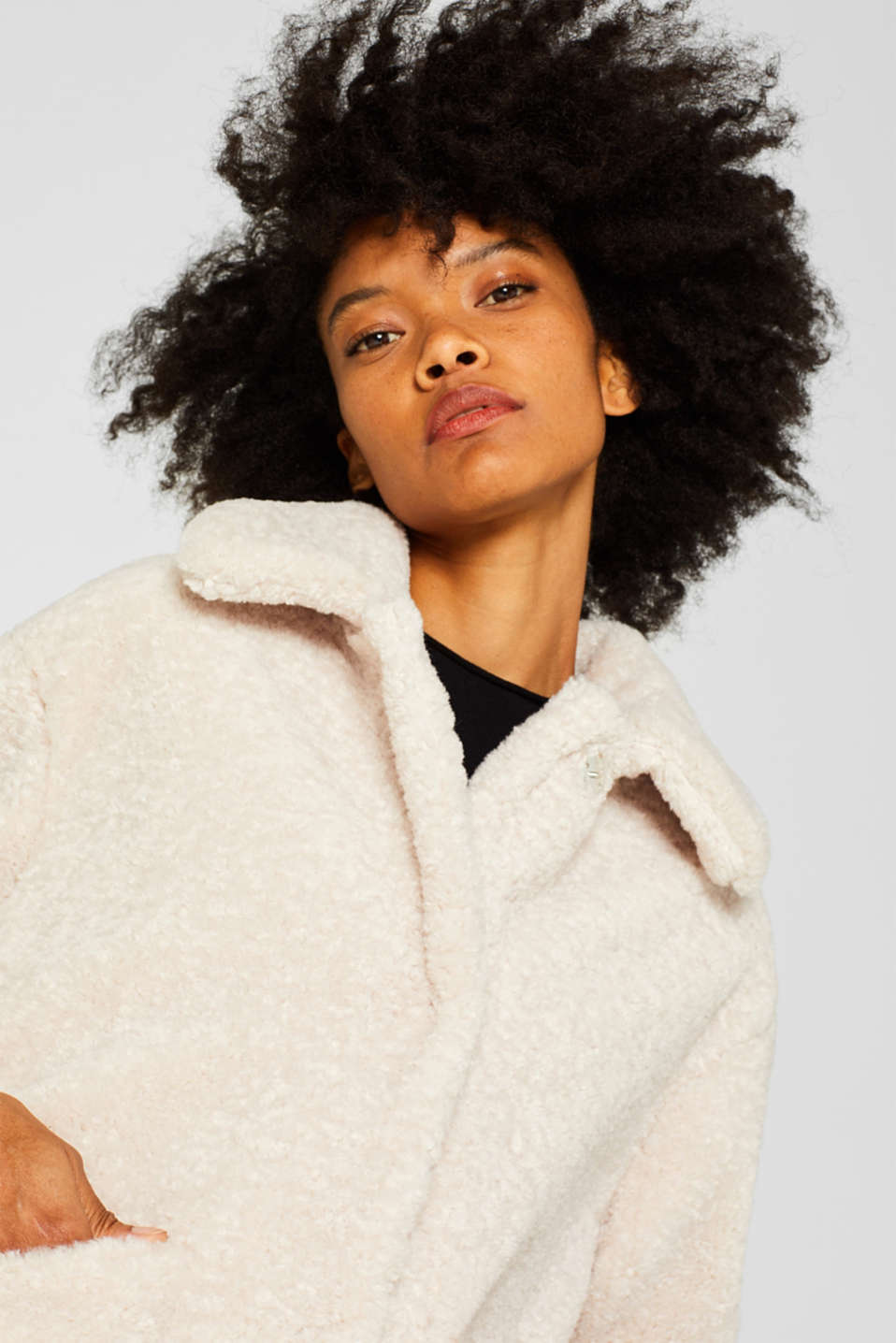 Faux fur jacket in a teddy look, SAND, detail image number 2