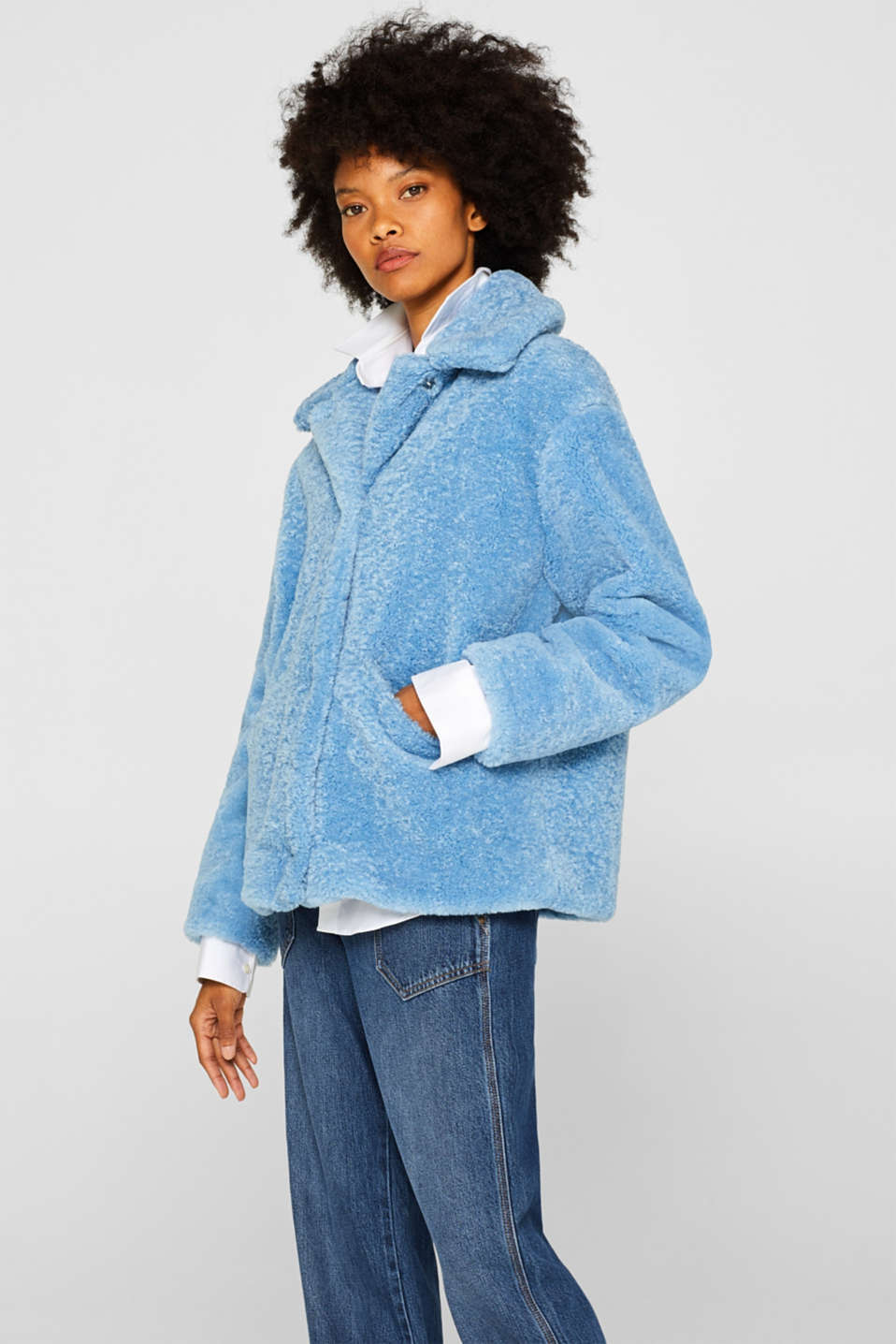 Faux fur jacket in a teddy look, LIGHT BLUE, detail image number 5
