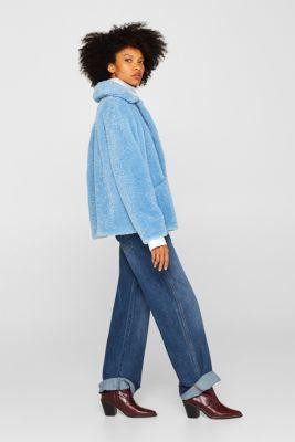Faux fur jacket in a teddy look, LIGHT BLUE, detail