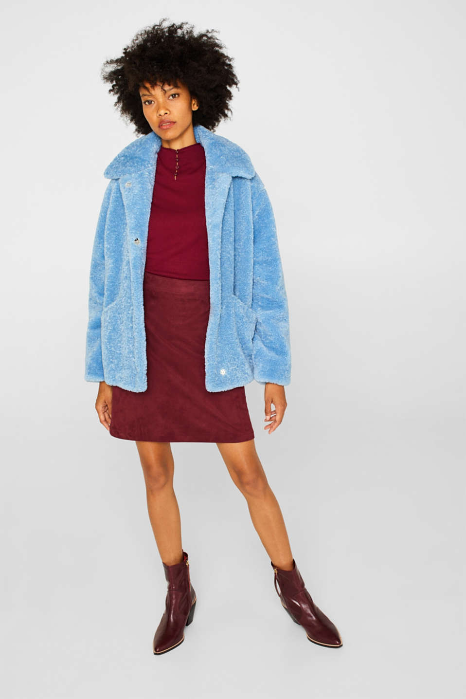 Faux fur jacket in a teddy look, LIGHT BLUE, detail image number 7