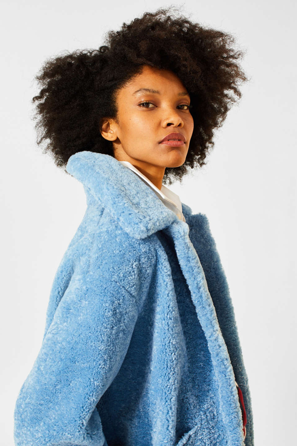 Faux fur jacket in a teddy look, LIGHT BLUE, detail image number 2
