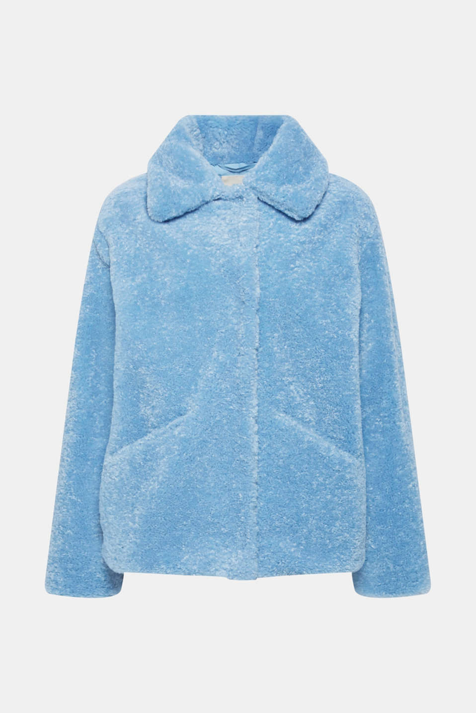 Faux fur jacket in a teddy look, LIGHT BLUE, detail image number 8