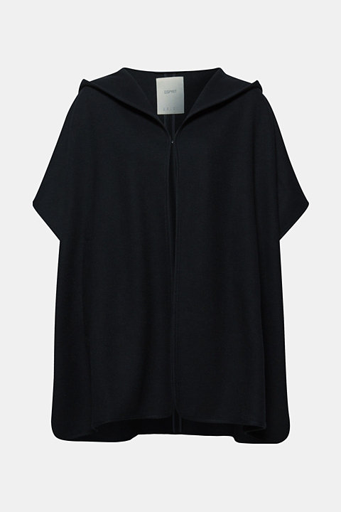 Wool blend: cape with a hood