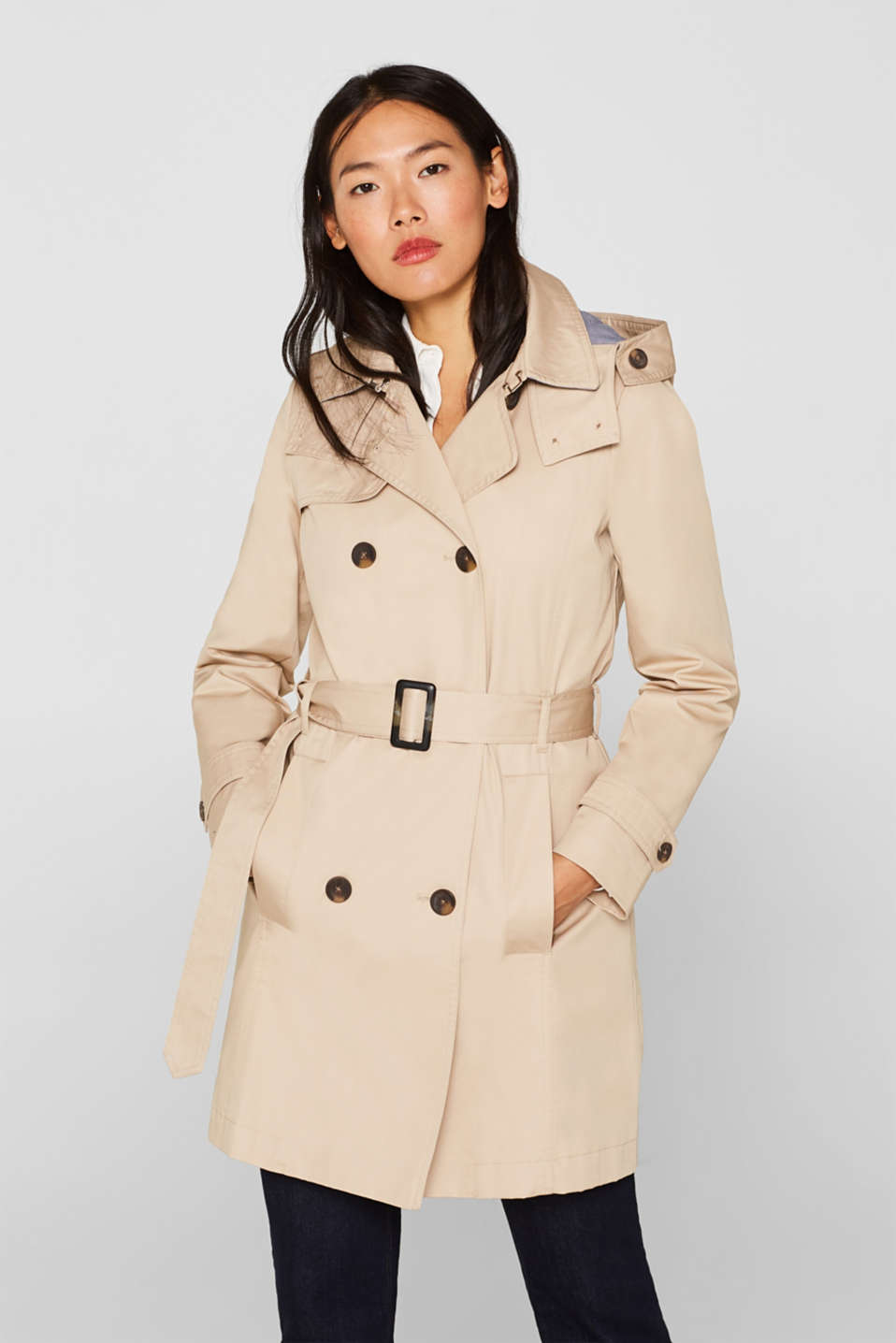 Esprit - Trench coat with a quilted body warmer