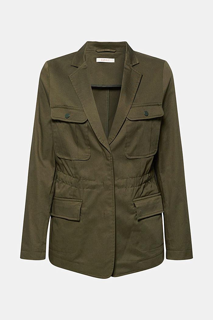Utility style stretch blazer, KHAKI GREEN, detail image number 0