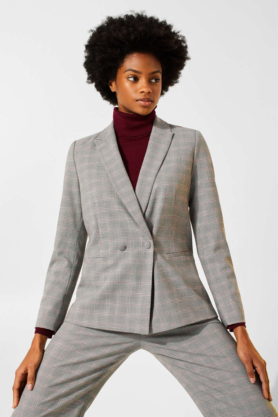 Esprit Stretch blazer with trendy checks at our Online Shop