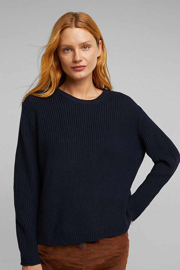 Oversized jumper made of blended wool, NAVY, detail image number 0