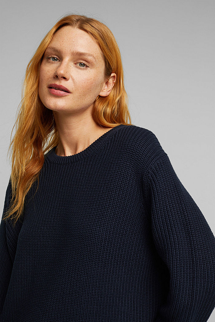 Oversized jumper made of blended wool, NAVY, detail image number 5