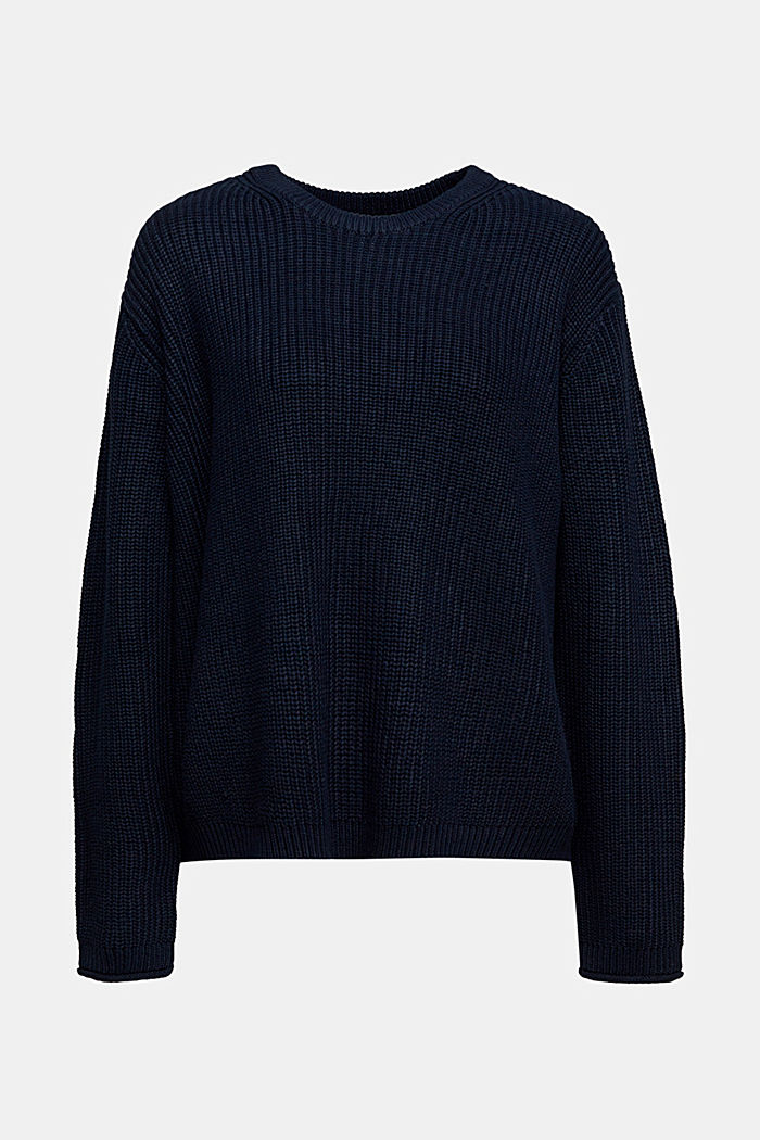 Oversized jumper made of blended wool, NAVY, detail image number 6