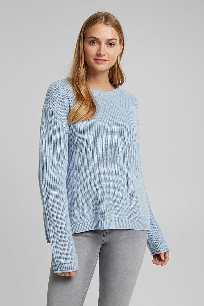 Oversized trui van een wolmix, LIGHT BLUE, detail image number 0
