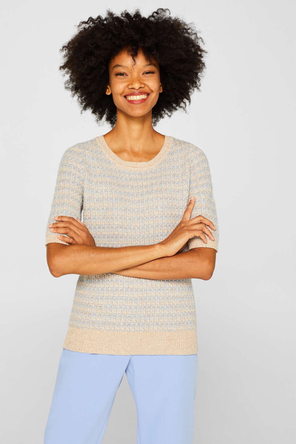 Short-sleeved jumper with a two-tone texture, CREAM BEIGE 2, detail image number 0