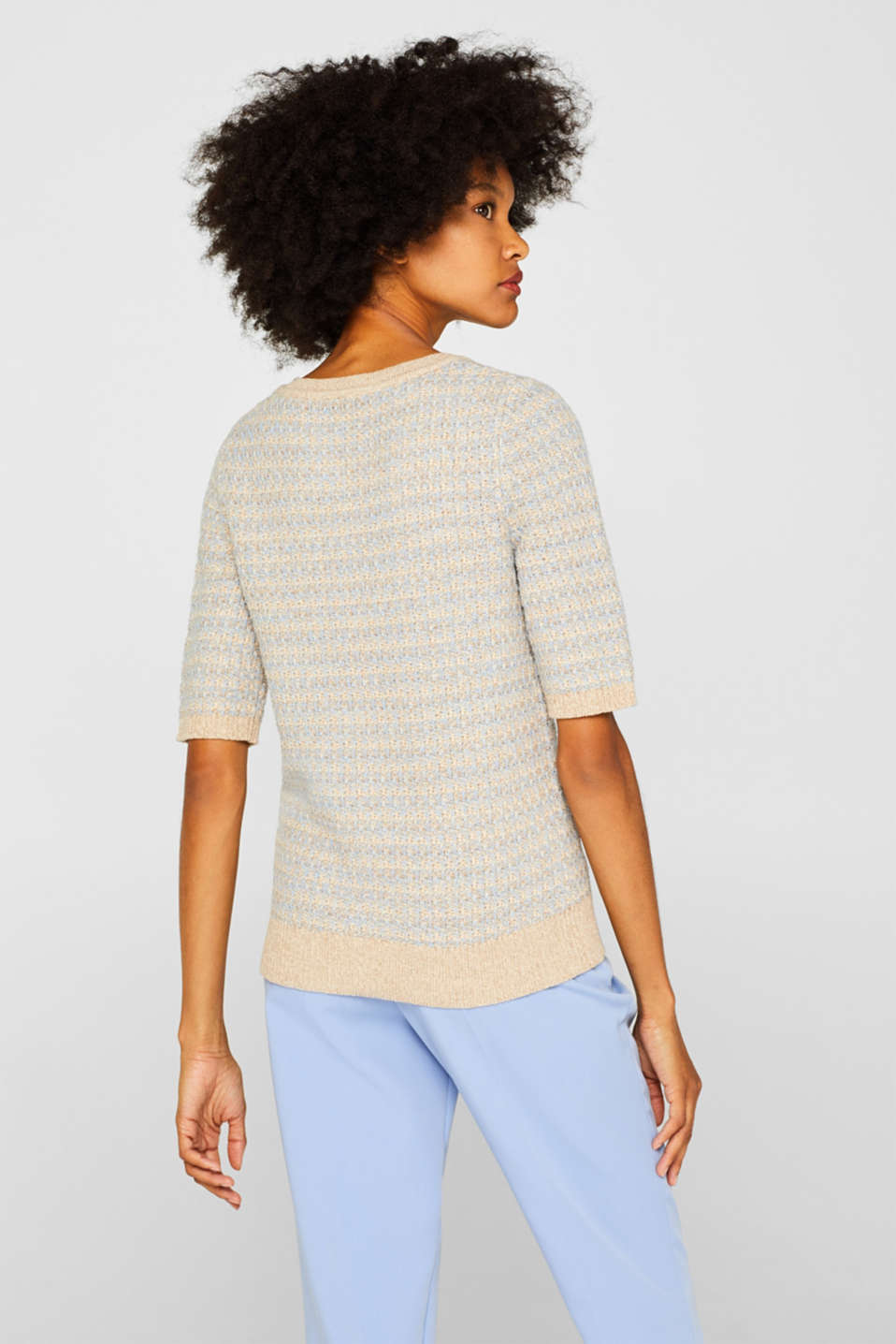 Short-sleeved jumper with a two-tone texture, CREAM BEIGE 2, detail image number 3