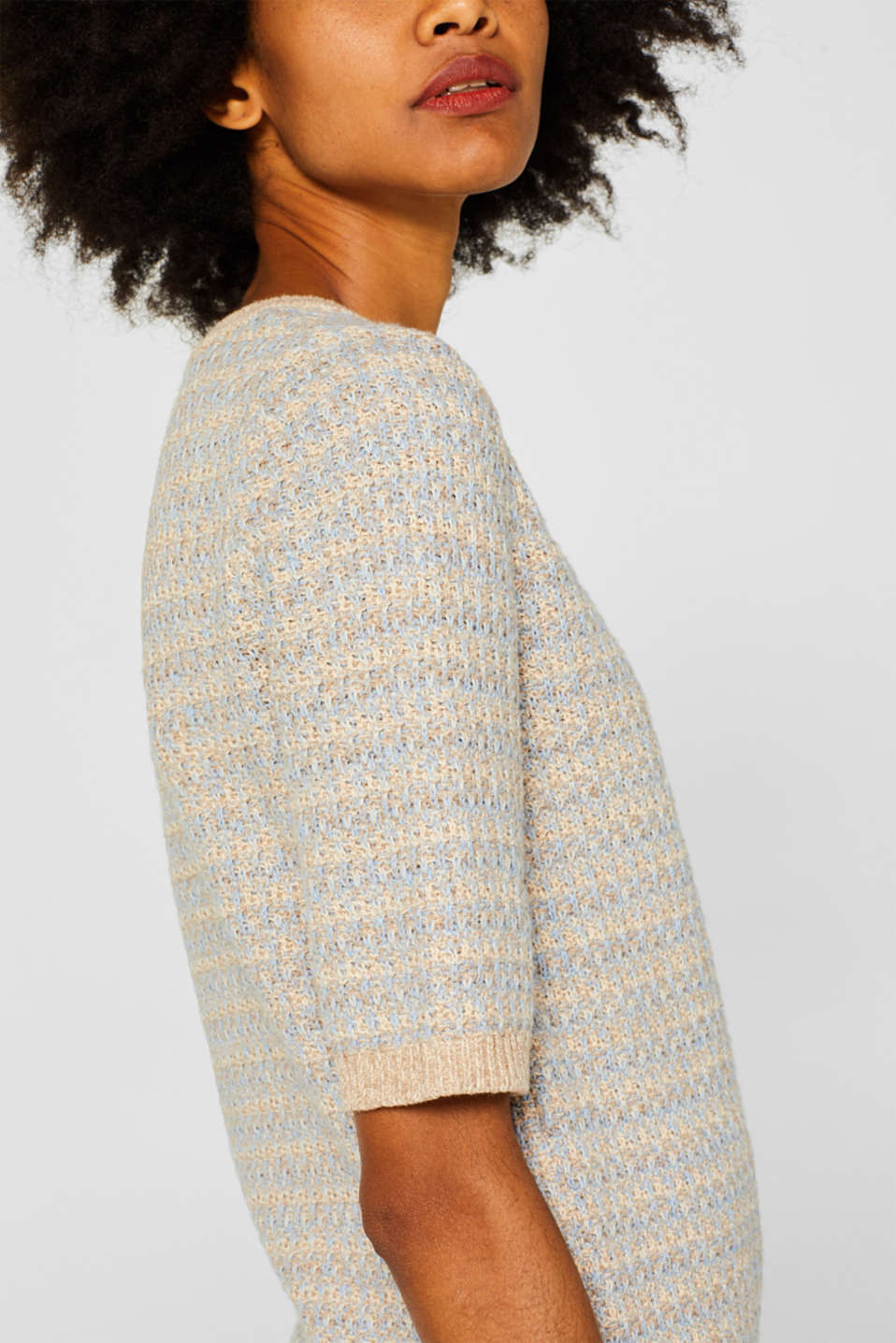 Short-sleeved jumper with a two-tone texture, CREAM BEIGE 2, detail image number 2