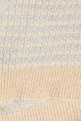 Short-sleeved jumper with a two-tone texture, CREAM BEIGE 2, detail