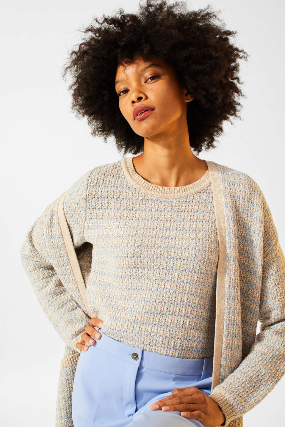 Short-sleeved jumper with a two-tone texture, CREAM BEIGE 2, detail image number 5