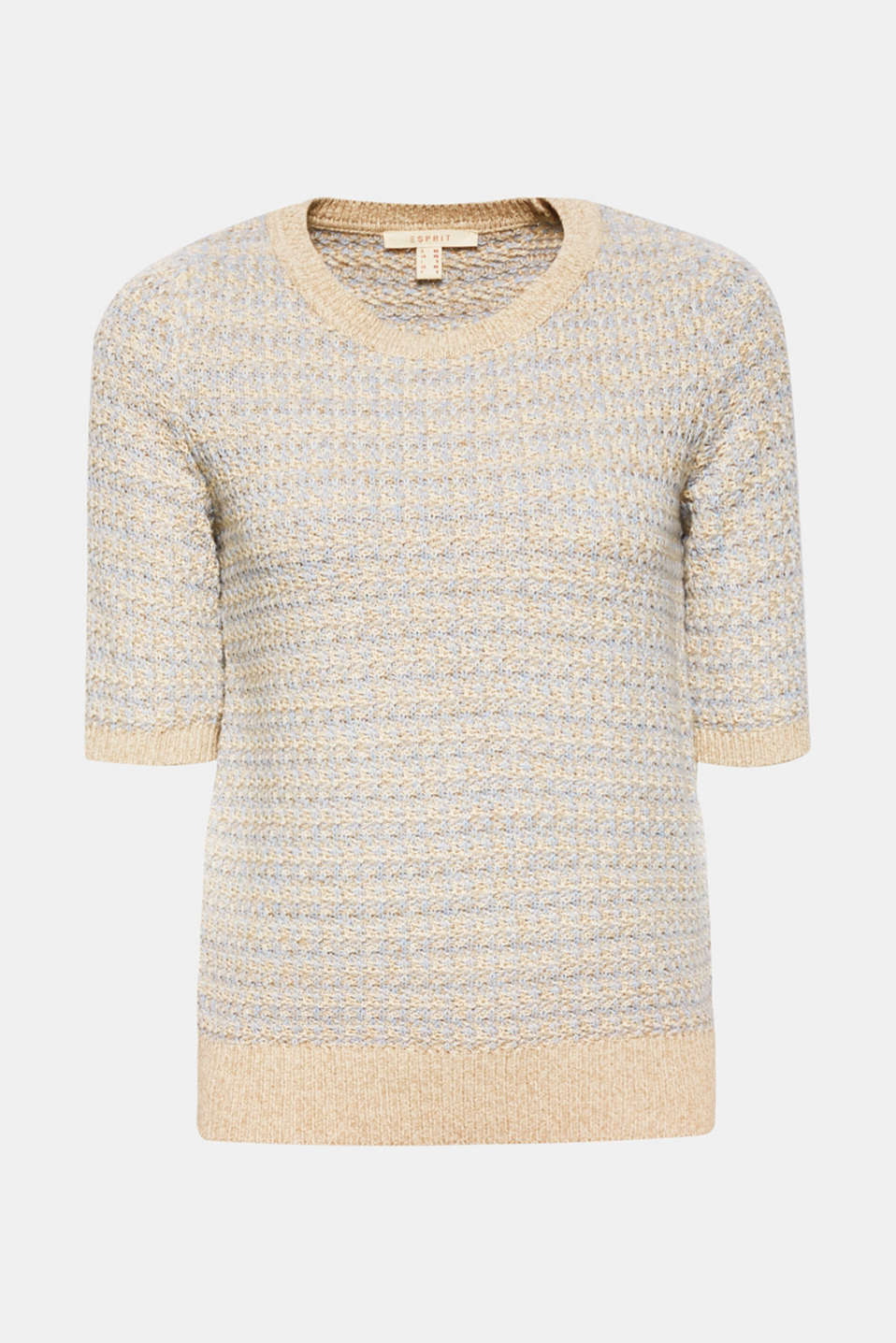 Short-sleeved jumper with a two-tone texture, CREAM BEIGE 2, detail image number 6