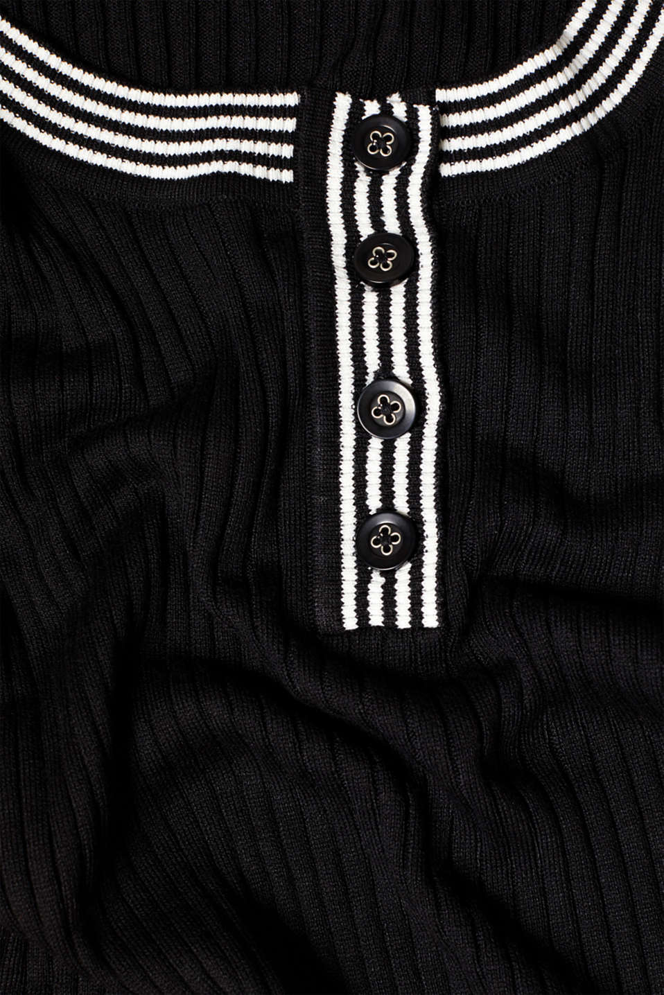 Short-sleeved jumper with button placket, recycled, BLACK, detail image number 4