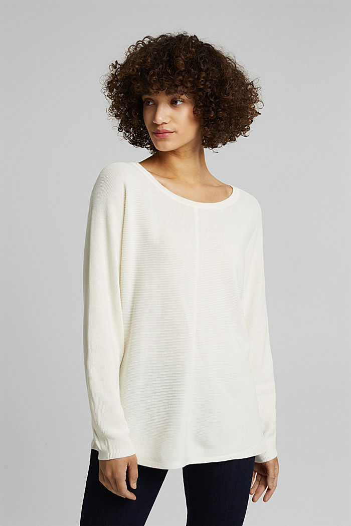 Rib knit jumper with organic cotton, OFF WHITE, detail image number 0