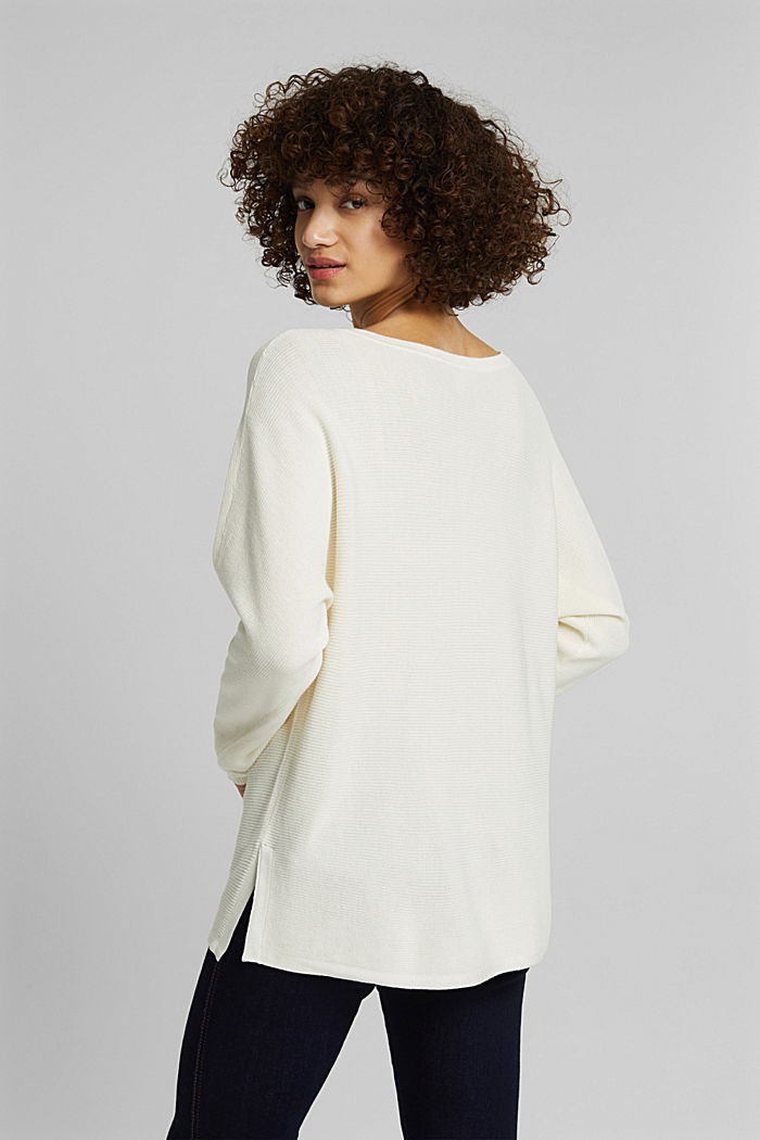 Rib knit jumper with organic cotton, OFF WHITE, detail image number 3