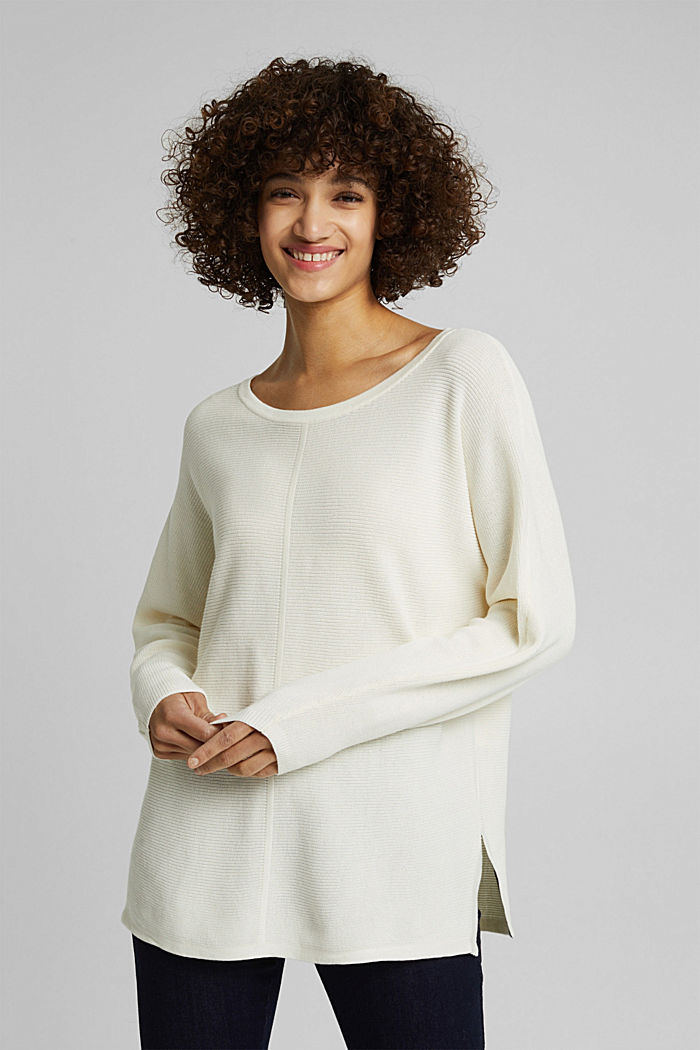 Rib knit jumper with organic cotton, OFF WHITE, detail image number 4