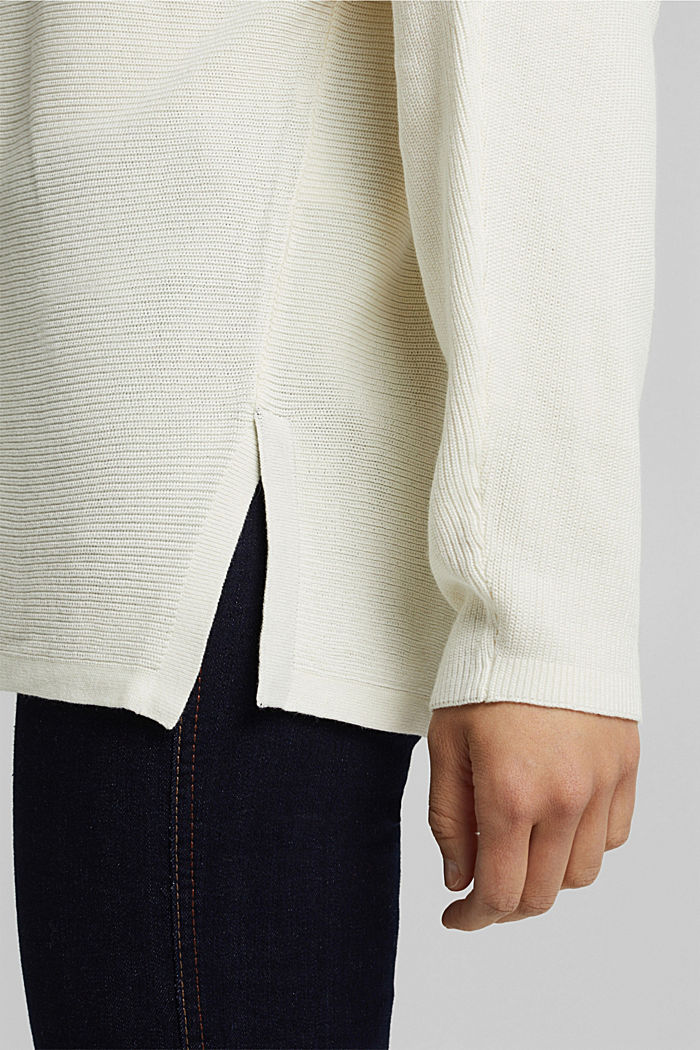 Rib knit jumper with organic cotton, OFF WHITE, detail image number 2