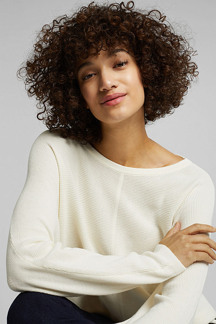 Rib knit jumper with organic cotton, OFF WHITE, detail image number 5