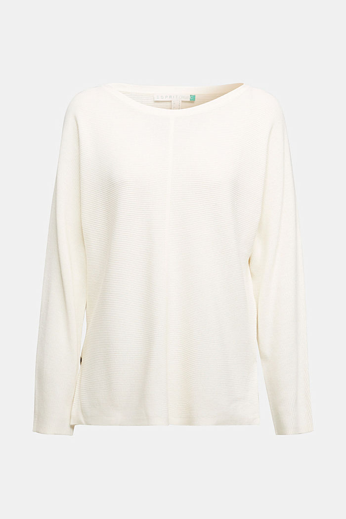 Rib knit jumper with organic cotton, OFF WHITE, detail image number 6