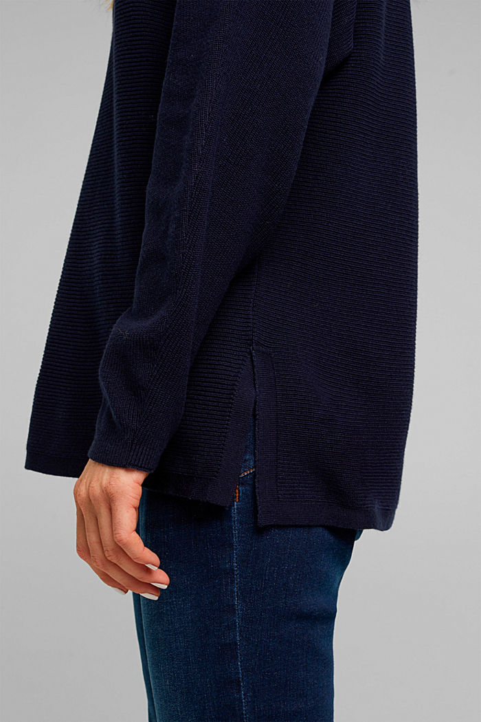 Rib knit jumper with organic cotton, NAVY, detail image number 2