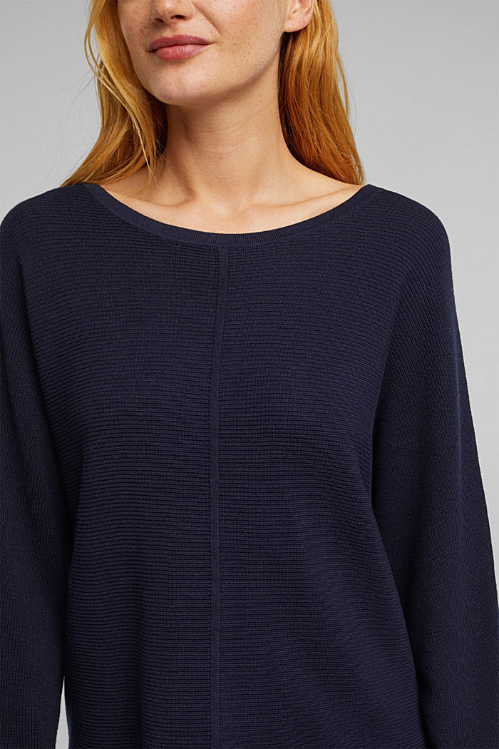 Rib knit jumper with organic cotton, NAVY, detail image number 5