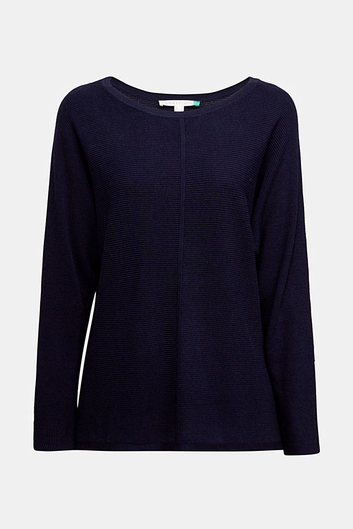 Rib knit jumper with organic cotton, NAVY, detail image number 6