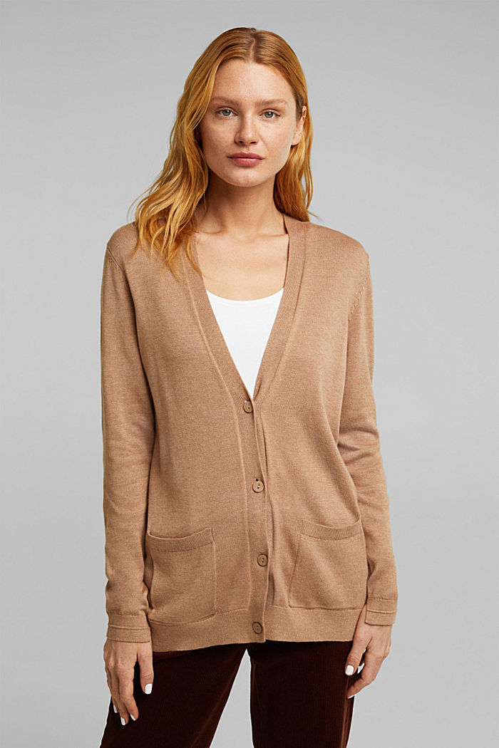Cardigan with front pockets, CAMEL, detail image number 0