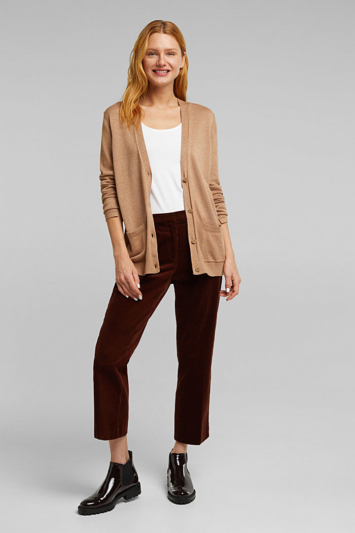 Cardigan with front pockets, CAMEL, detail image number 1