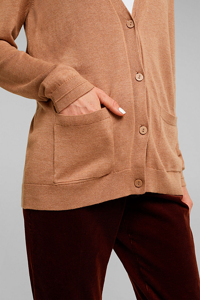 Cardigan with front pockets, CAMEL, detail image number 2