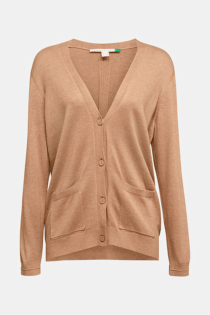 Cardigan with front pockets, CAMEL, detail image number 5