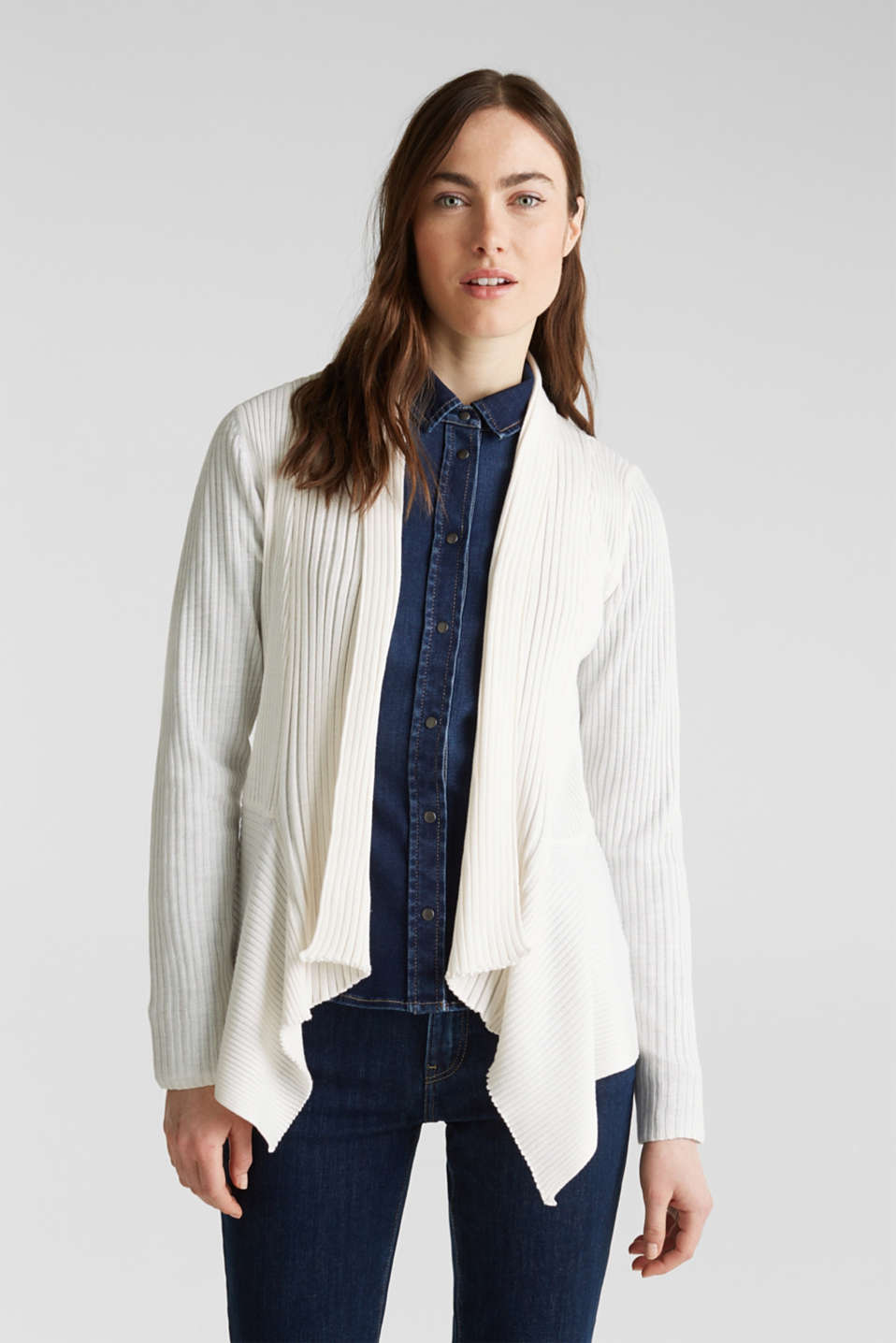 Basic cardigan with a ribbed texture, OFF WHITE, detail image number 0