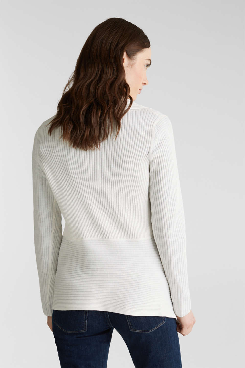 Basic cardigan with a ribbed texture, OFF WHITE, detail image number 3