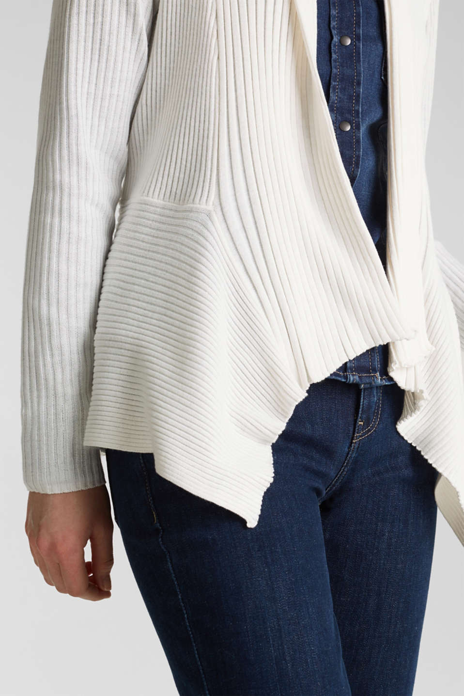 Basic cardigan with a ribbed texture, OFF WHITE, detail image number 5