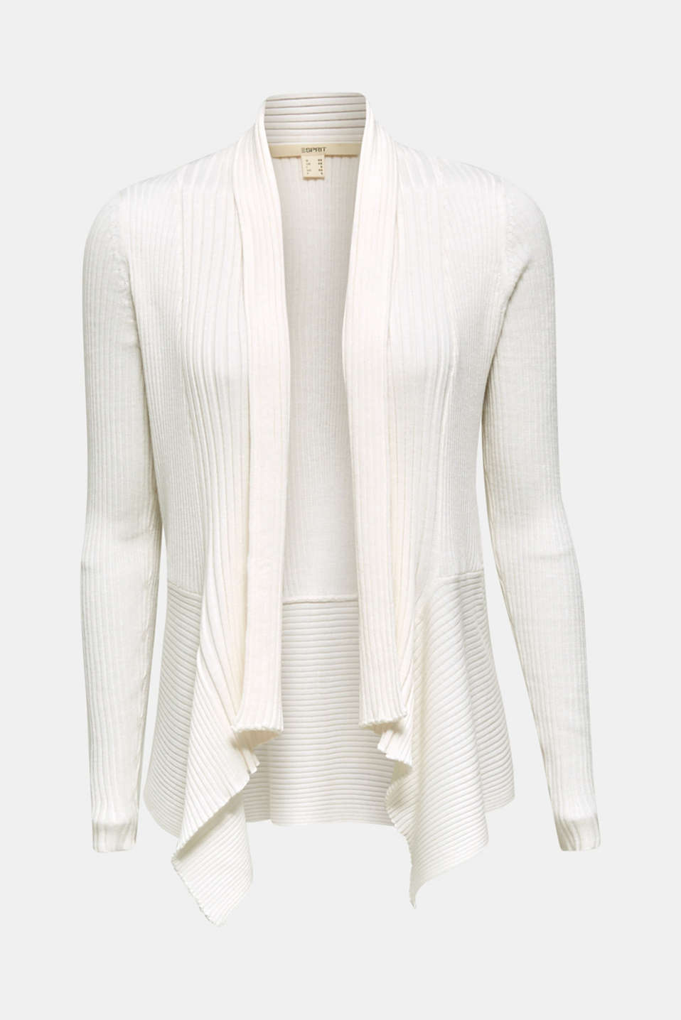 Basic cardigan with a ribbed texture, OFF WHITE, detail image number 6