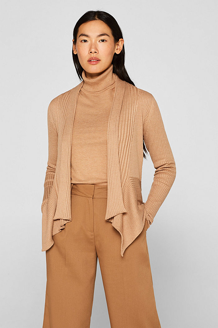 Basic cardigan with a ribbed texture, CAMEL, detail image number 0