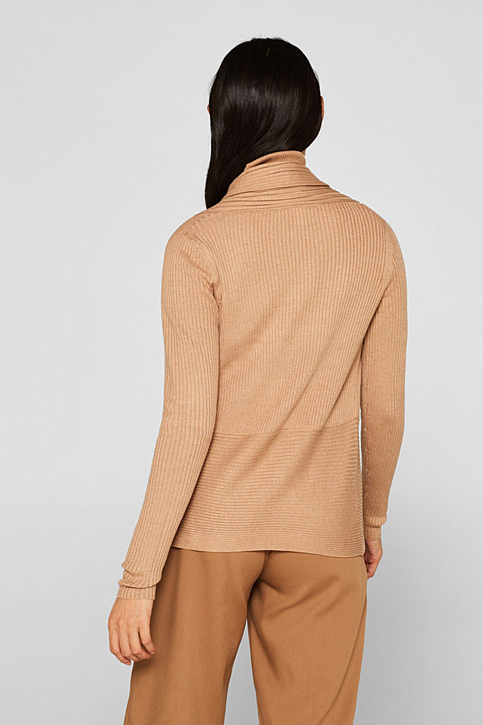 Basic cardigan with a ribbed texture, CAMEL, detail image number 3